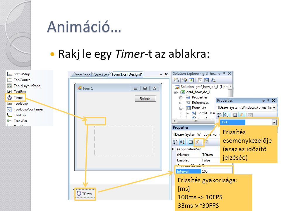 Animáció… Rakj le egy Timer-t az ablakra: Frissítés gyakorisága: [ms] 100ms -> 10FPS 33ms->~30FPS Frissítés eseménykezelője (azaz az időzítő jelzéséé)