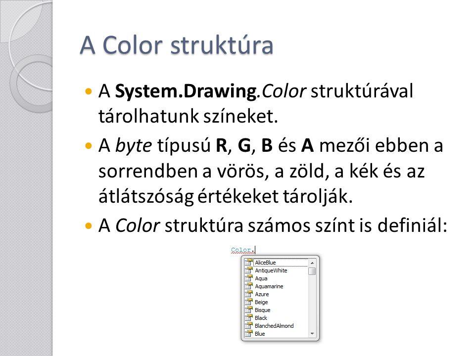 A Color struktúra A System.Drawing.Color struktúrával tárolhatunk színeket. A byte típusú R, G, B és A mezői ebben a sorrendben a vörös, a zöld, a kék