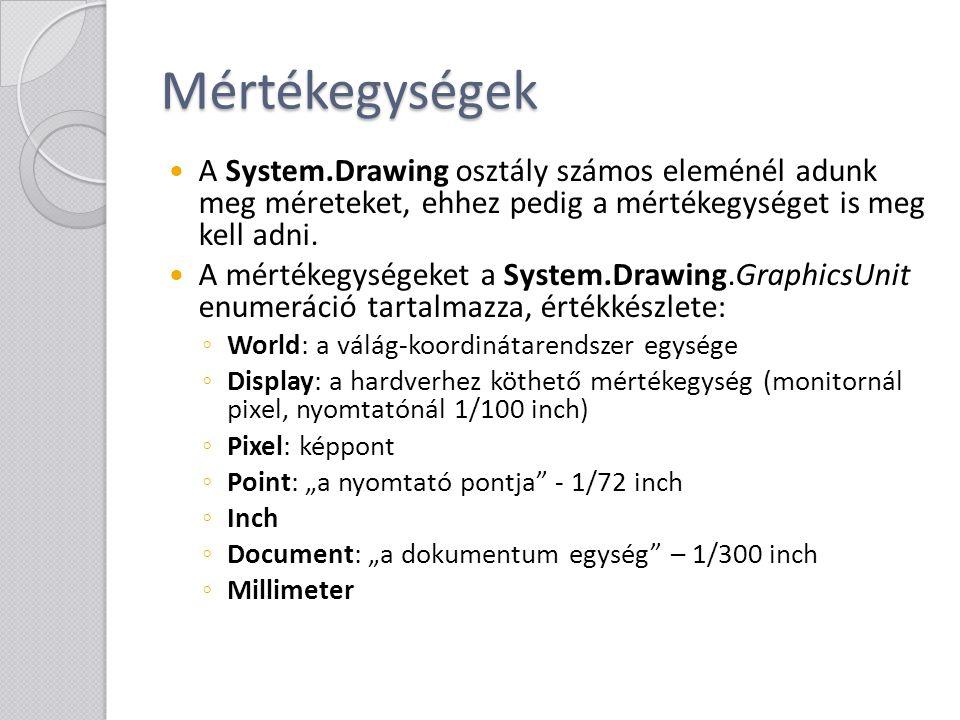 Mértékegységek A System.Drawing osztály számos eleménél adunk meg méreteket, ehhez pedig a mértékegységet is meg kell adni. A mértékegységeket a Syste