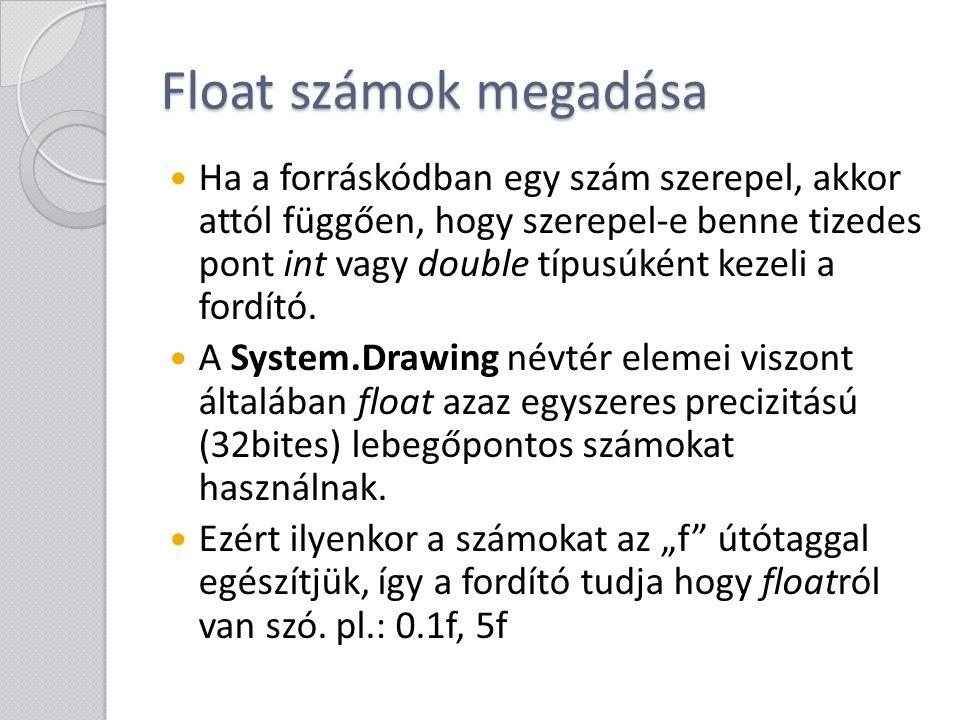 Float számok megadása Ha a forráskódban egy szám szerepel, akkor attól függően, hogy szerepel-e benne tizedes pont int vagy double típusúként kezeli a