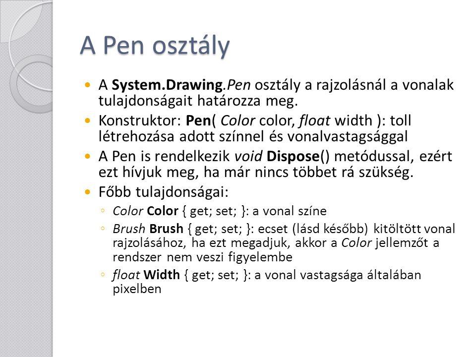 A Pen osztály A System.Drawing.Pen osztály a rajzolásnál a vonalak tulajdonságait határozza meg. Konstruktor: Pen( Color color, float width ): toll lé