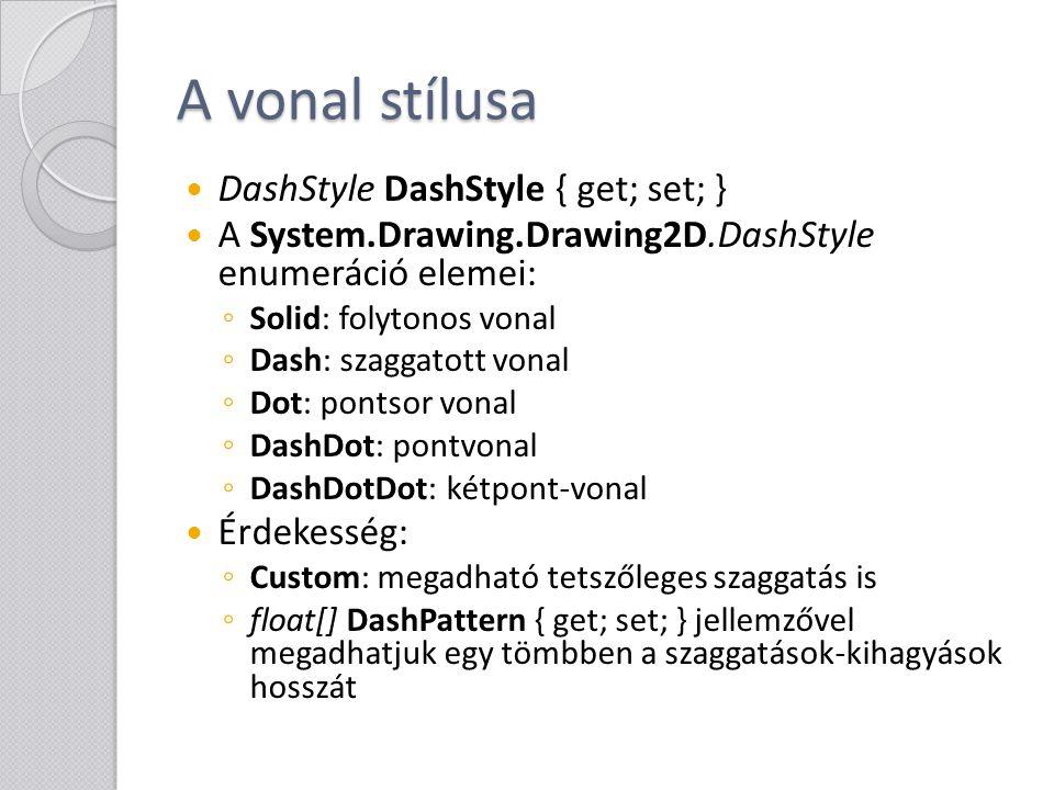 A vonal stílusa DashStyle DashStyle { get; set; } A System.Drawing.Drawing2D.DashStyle enumeráció elemei: ◦ Solid: folytonos vonal ◦ Dash: szaggatott