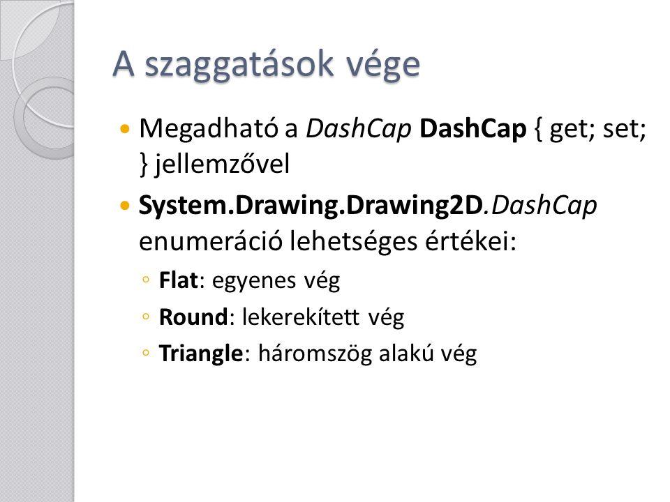 A szaggatások vége Megadható a DashCap DashCap { get; set; } jellemzővel System.Drawing.Drawing2D.DashCap enumeráció lehetséges értékei: ◦ Flat: egyen