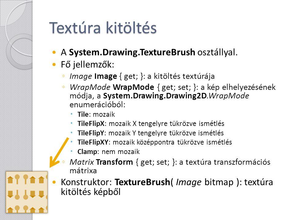 Textúra kitöltés A System.Drawing.TextureBrush osztállyal. Fő jellemzők: ◦ Image Image { get; }: a kitöltés textúrája ◦ WrapMode WrapMode { get; set;