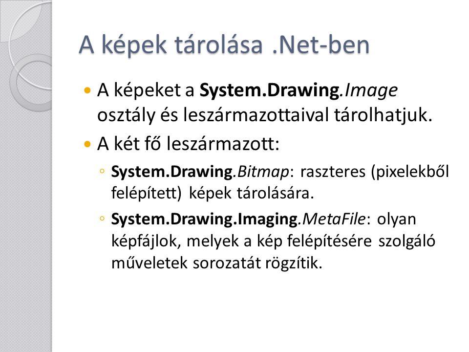 Logikai műveletek - Region void MakeEmpty (): üressé teszi a régiót void MakeInfinite (): végtelenné teszi a régiót Logikai műveletek (elvégezhetőek másik Region, RectangleF és GraphicsPath elemekre): ◦ Intersect: metszet ◦ Union: unió ◦ Xor: kizáró vagy (olyan régiót ad, amelynek pontjai vagy az első vagy a második régióhoz tartoznak, de nem mindkettőhöz) ◦ Complement: komplementer (olyan régiót ad, amely a második régió minden olyan pontját tartalmazza, amely nincs benne az első régióban)
