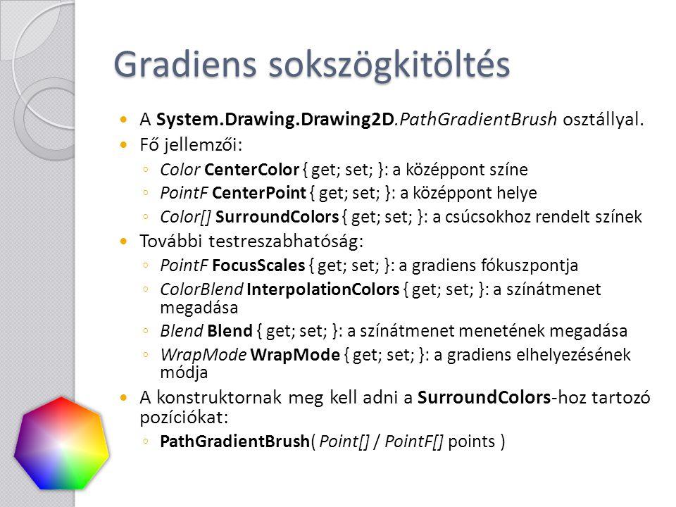 Gradiens sokszögkitöltés A System.Drawing.Drawing2D.PathGradientBrush osztállyal. Fő jellemzői: ◦ Color CenterColor { get; set; }: a középpont színe ◦