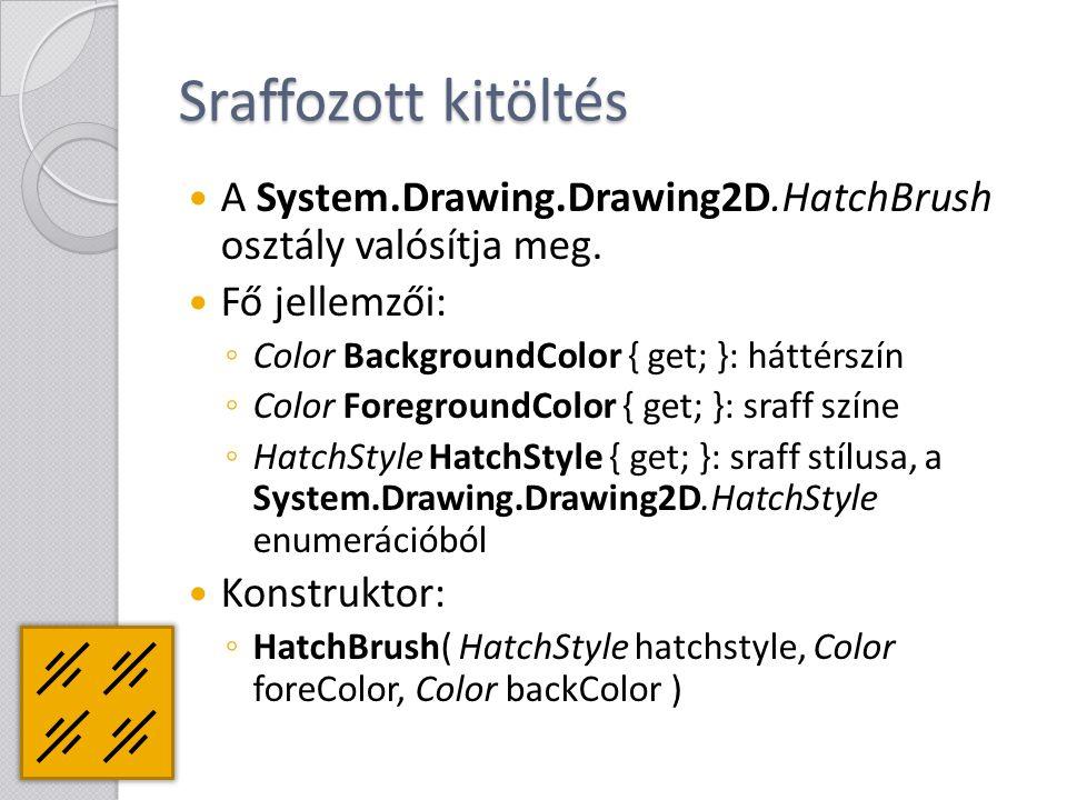 Sraffozott kitöltés A System.Drawing.Drawing2D.HatchBrush osztály valósítja meg. Fő jellemzői: ◦ Color BackgroundColor { get; }: háttérszín ◦ Color Fo
