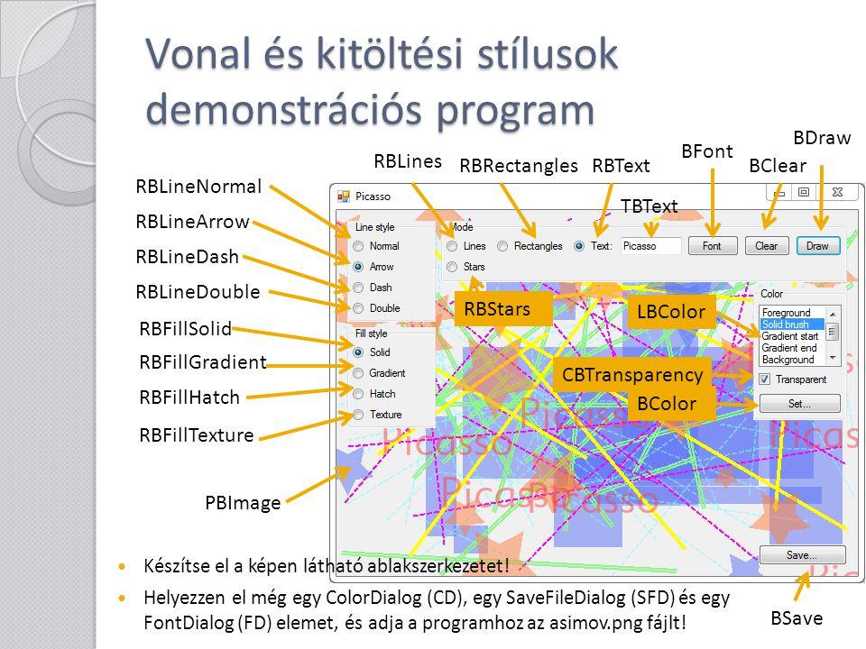 Vonal és kitöltési stílusok demonstrációs program Készítse el a képen látható ablakszerkezetet! Helyezzen el még egy ColorDialog (CD), egy SaveFileDia