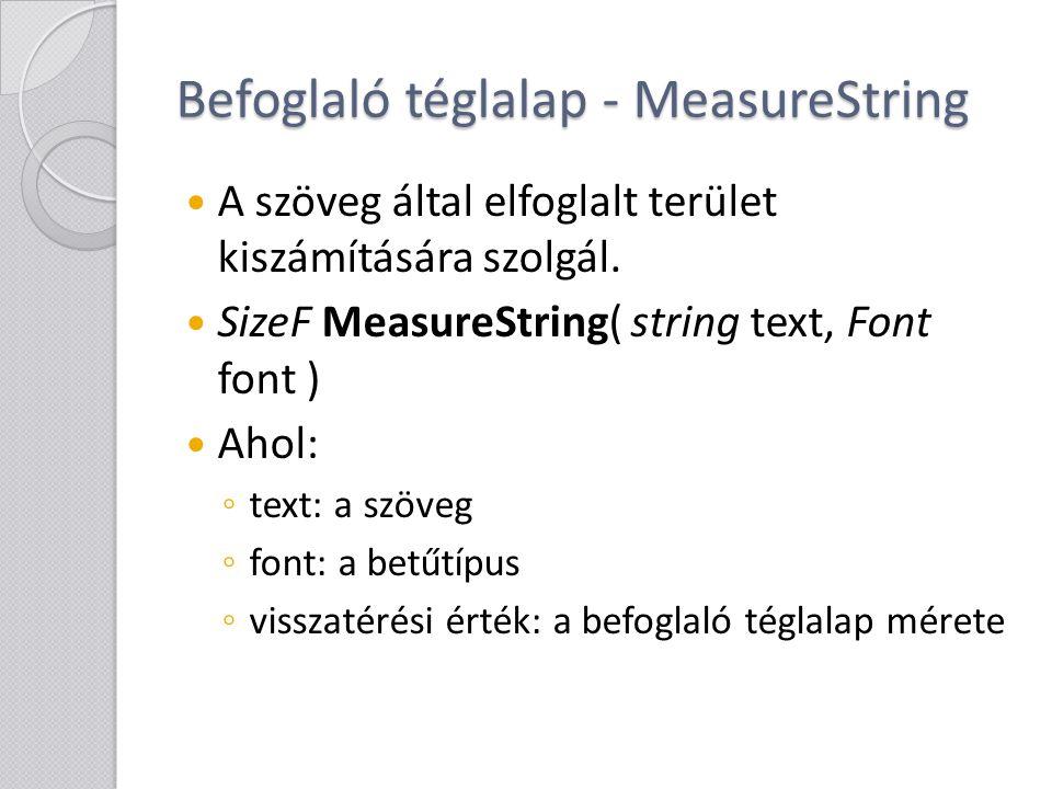 Befoglaló téglalap - MeasureString A szöveg által elfoglalt terület kiszámítására szolgál. SizeF MeasureString( string text, Font font ) Ahol: ◦ text: