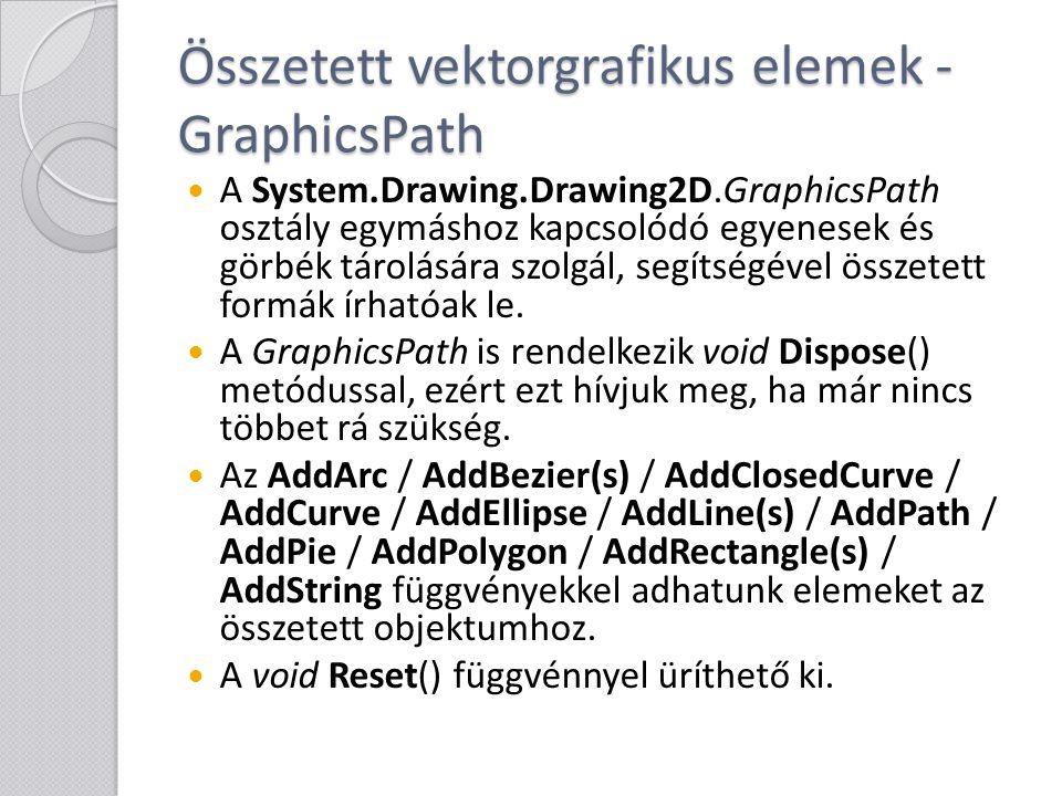 Összetett vektorgrafikus elemek - GraphicsPath A System.Drawing.Drawing2D.GraphicsPath osztály egymáshoz kapcsolódó egyenesek és görbék tárolására szo