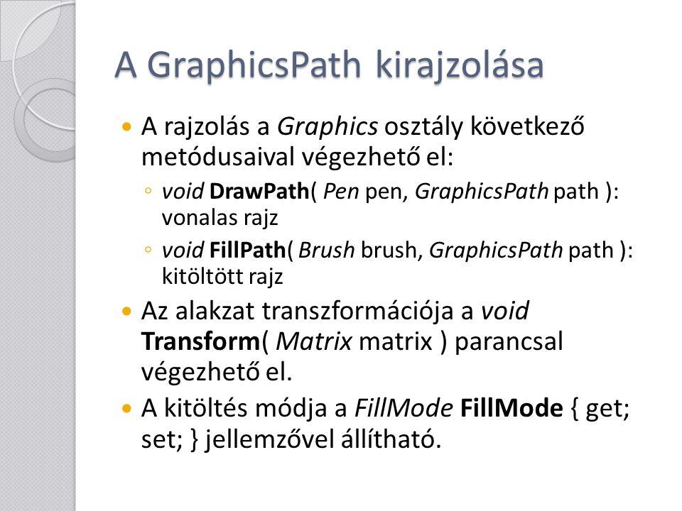 A GraphicsPath kirajzolása A rajzolás a Graphics osztály következő metódusaival végezhető el: ◦ void DrawPath( Pen pen, GraphicsPath path ): vonalas r