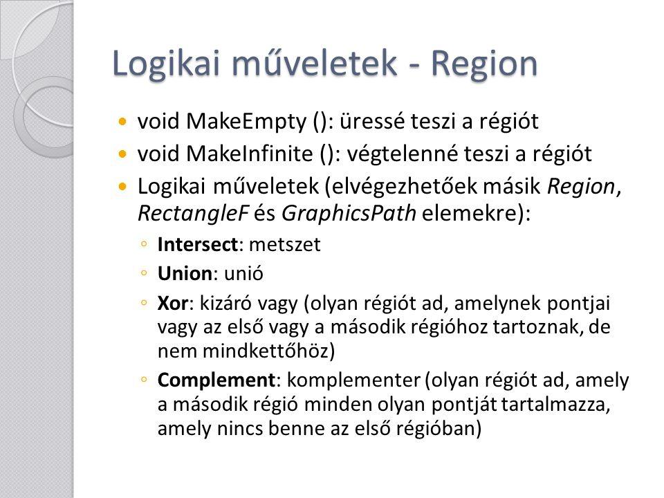 Logikai műveletek - Region void MakeEmpty (): üressé teszi a régiót void MakeInfinite (): végtelenné teszi a régiót Logikai műveletek (elvégezhetőek m