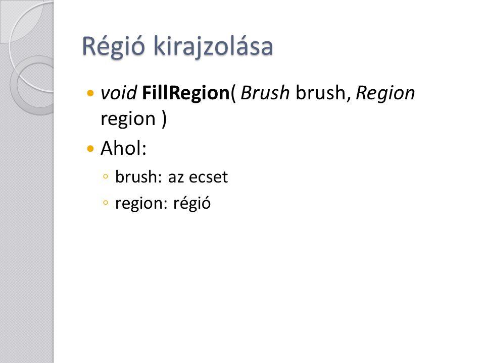 Régió kirajzolása void FillRegion( Brush brush, Region region ) Ahol: ◦ brush: az ecset ◦ region: régió