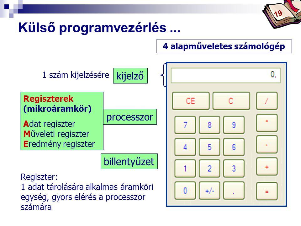 Bóta Laca Regiszterek (mikroáramkör) Adat regiszter Műveleti regiszter Eredmény regiszter Külső programvezérlés...