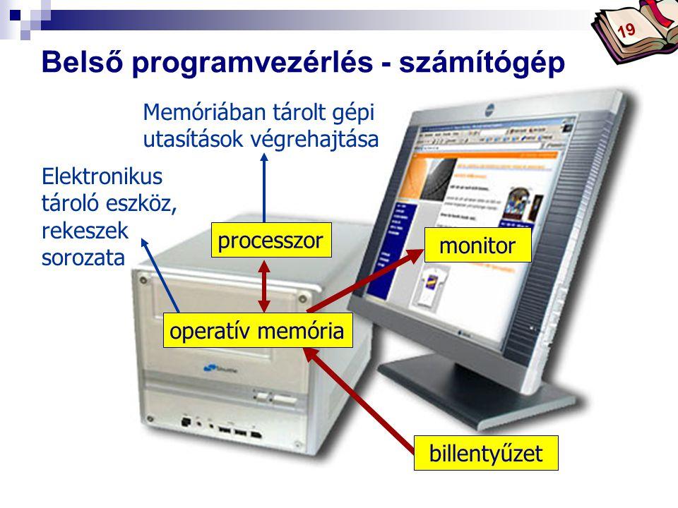 Bóta Laca Belső programvezérlés - számítógép monitor processzor operatív memória Elektronikus tároló eszköz, rekeszek sorozata Memóriában tárolt gépi utasítások végrehajtása billentyűzet 19
