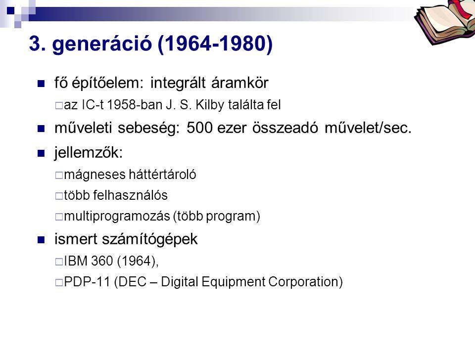 Bóta Laca 3.generáció (1964-1980) fő építőelem: integrált áramkör  az IC-t 1958-ban J.
