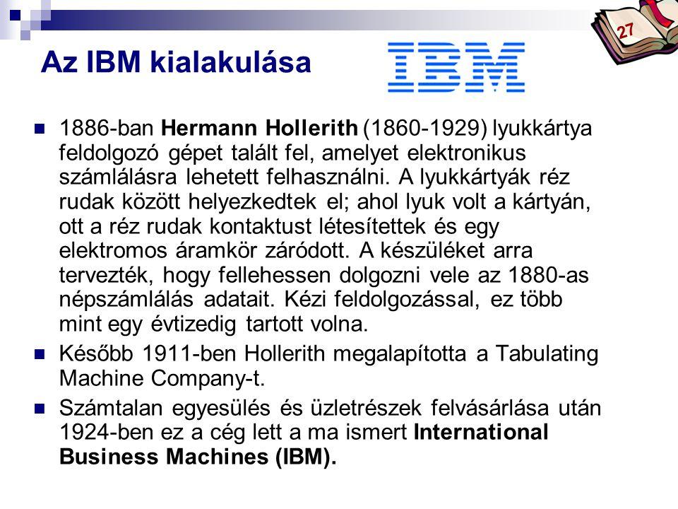 Bóta Laca Az IBM kialakulása 1886-ban Hermann Hollerith (1860-1929) lyukkártya feldolgozó gépet talált fel, amelyet elektronikus számlálásra lehetett felhasználni.