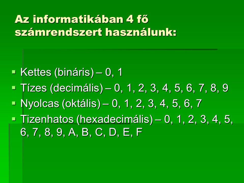 Átváltás 2-es számrendszerből 10-esbe 100110 2 =1 · 2 5 +0 · 2 4 +0 · 2 3 +1 · 2 2 +1 · 2 1 +0 · 2 0 =2 5 +2 2 +2 1 =32+4+2=230 10 1.Megszámoljuk, hány számjegy van (a példában 6 db).