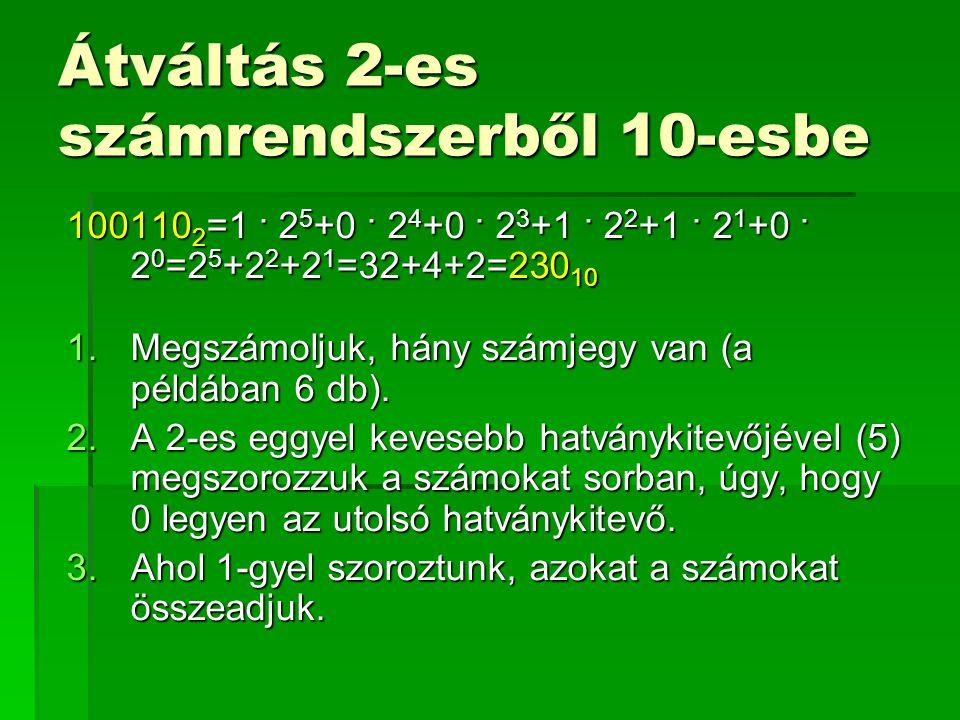 Átváltás 2-es számrendszerből 8-asba 2-es számrendszer8-as számrendszer 0000 0011 0102 0113 1004 1015 1106 1117