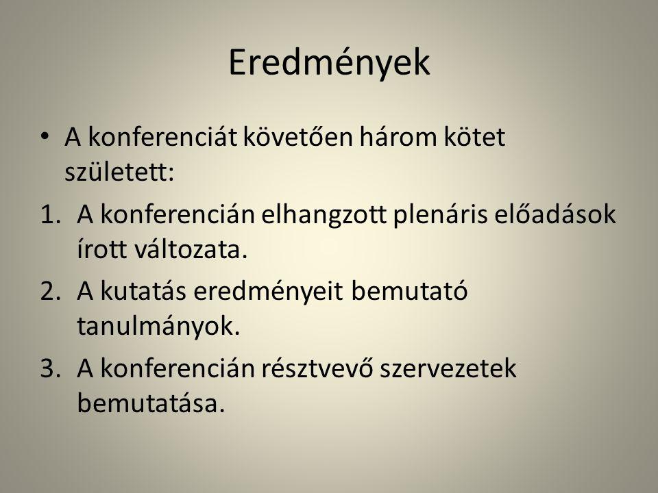 Eredmények Szakmai tapasztalat: terepmunka, tanulmányírás.