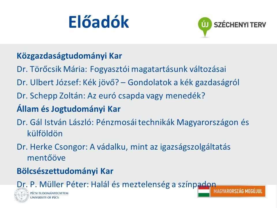 Előadók Közgazdaságtudományi Kar Dr. Törőcsik Mária: Fogyasztói magatartásunk változásai Dr.