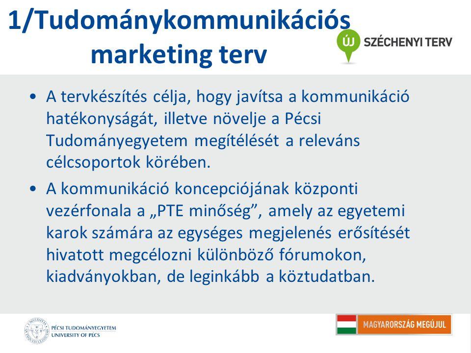 1/Tudománykommunikációs marketing terv A tervkészítés célja, hogy javítsa a kommunikáció hatékonyságát, illetve növelje a Pécsi Tudományegyetem megítélését a releváns célcsoportok körében.
