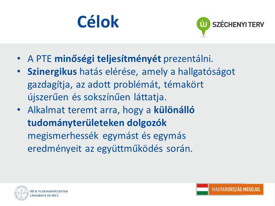 Célok A PTE minőségi teljesítményét prezentálni.