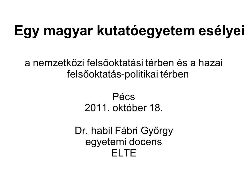 a nemzetközi felsőoktatási térben és a hazai felsőoktatás-politikai térben Pécs 2011.