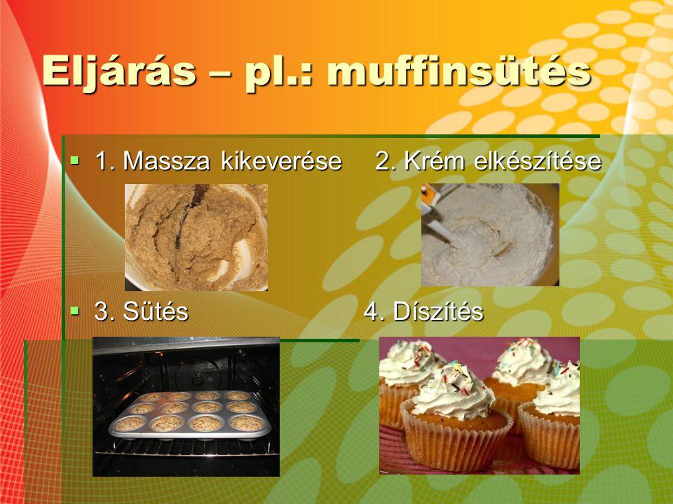 Eljárás – pl.: muffinsütés  1. Massza kikeverése 2. Krém elkészítése  3. Sütés 4. Díszítés
