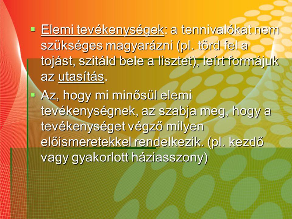 Tevékenységek leírása  Pontokba szedett utasítások (pl.