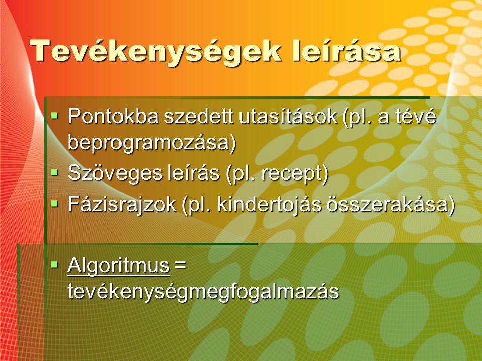 Tevékenységek leírása  Pontokba szedett utasítások (pl. a tévé beprogramozása)  Szöveges leírás (pl. recept)  Fázisrajzok (pl. kindertojás összerak