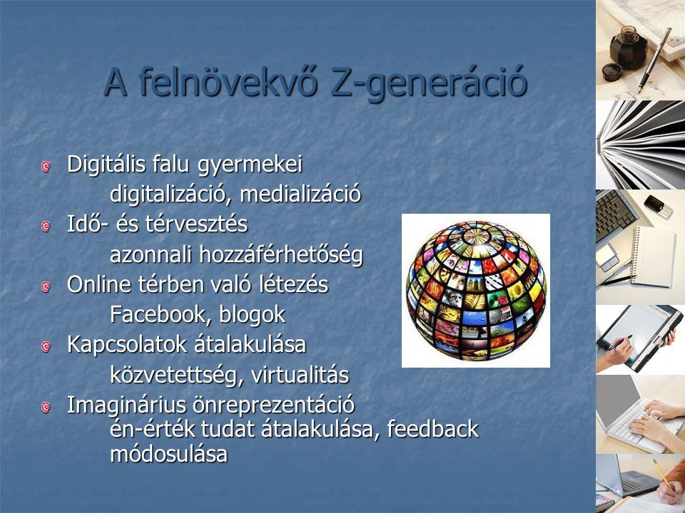 A felnövekvő Z-generáció Digitális falu gyermekei digitalizáció, medializáció Idő- és térvesztés azonnali hozzáférhetőség Online térben való létezés F