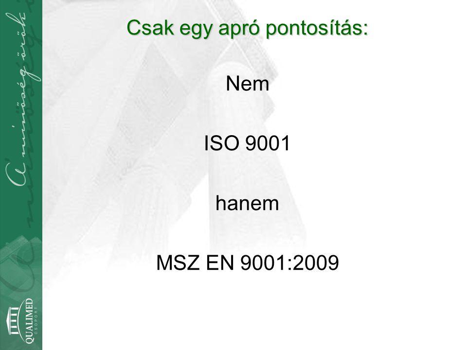 Csak egy apró pontosítás: Nem ISO 9001 hanem MSZ EN 9001:2009
