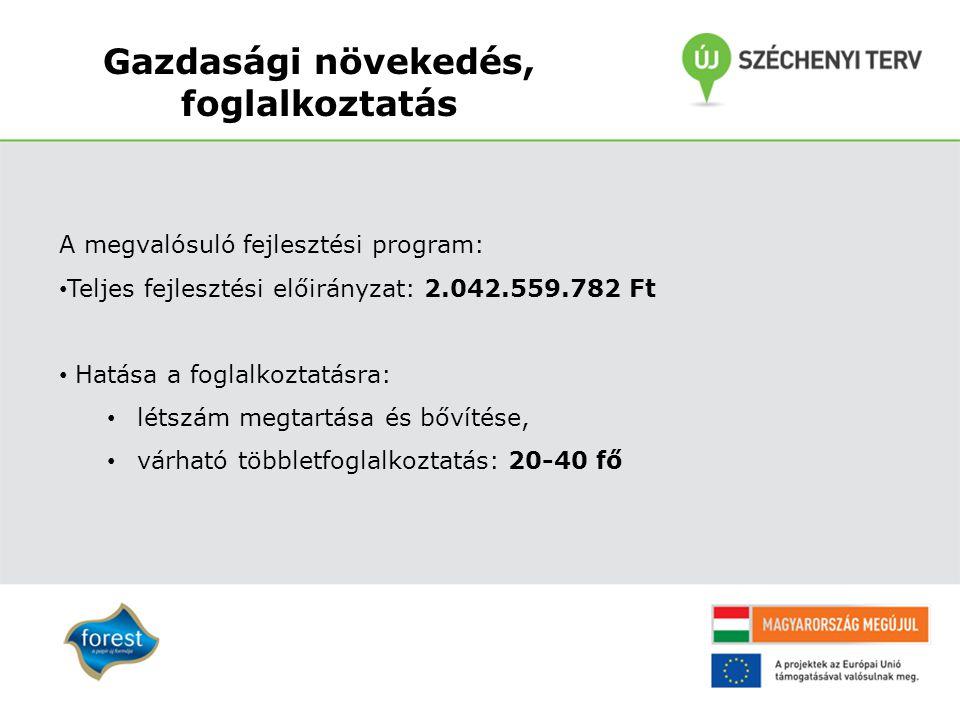 Gazdasági növekedés, foglalkoztatás A megvalósuló fejlesztési program: Teljes fejlesztési előirányzat: 2.042.559.782 Ft Hatása a foglalkoztatásra: lét