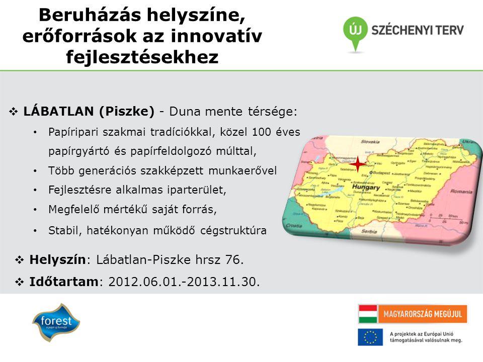 Beruházás helyszíne, erőforrások az innovatív fejlesztésekhez  LÁBATLAN (Piszke) - Duna mente térsége: Papíripari szakmai tradíciókkal, közel 100 éve