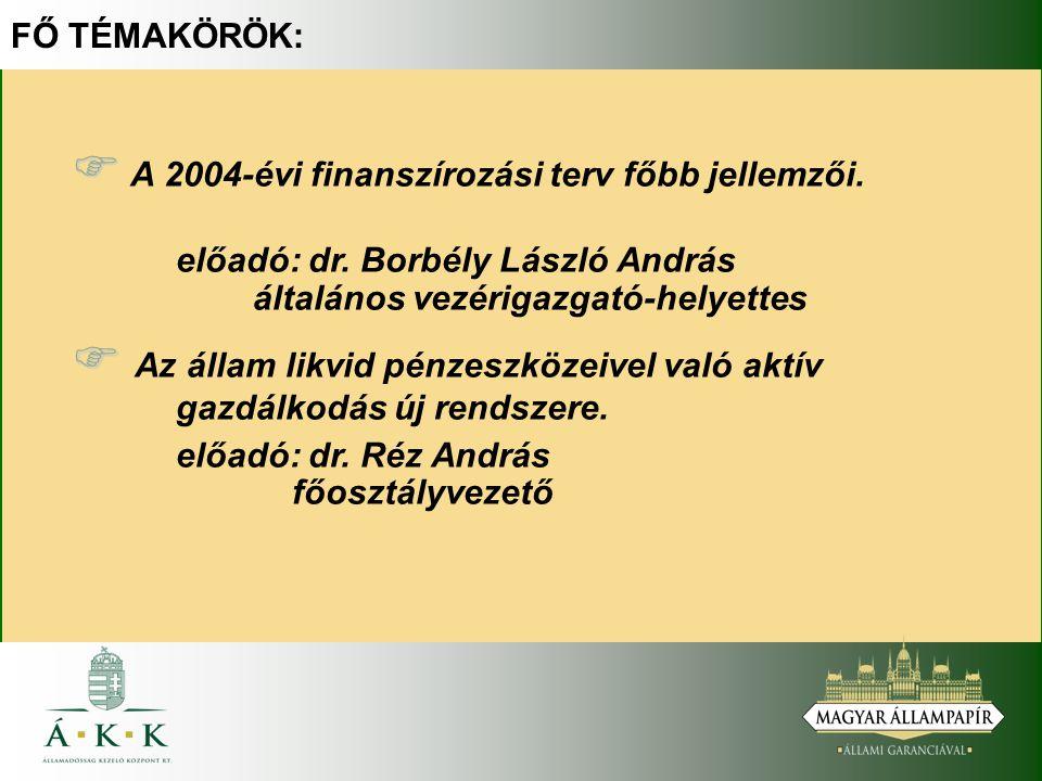 FŐ TÉMAKÖRÖK:   A 2004-évi finanszírozási terv főbb jellemzői.