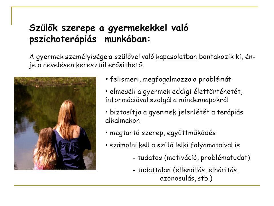 Szülők szerepe a gyermekekkel való pszichoterápiás munkában: A gyermek személyisége a szülővel való kapcsolatban bontakozik ki, én- je a nevelésen ker