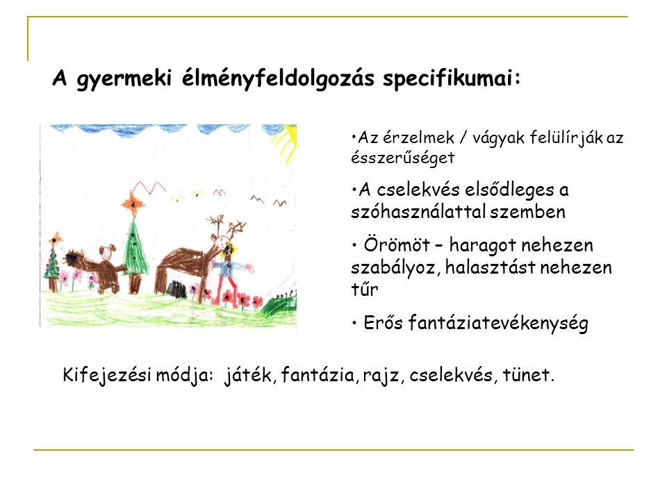 A gyermeki élményfeldolgozás specifikumai: Az érzelmek / vágyak felülírják az ésszerűséget A cselekvés elsődleges a szóhasználattal szemben Örömöt – h