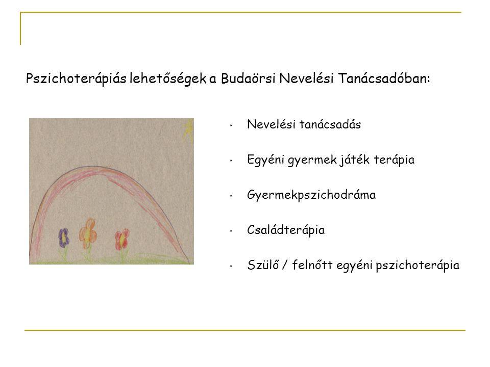Nevelési tanácsadás Egyéni gyermek játék terápia Gyermekpszichodráma Családterápia Szülő / felnőtt egyéni pszichoterápia Pszichoterápiás lehetőségek a