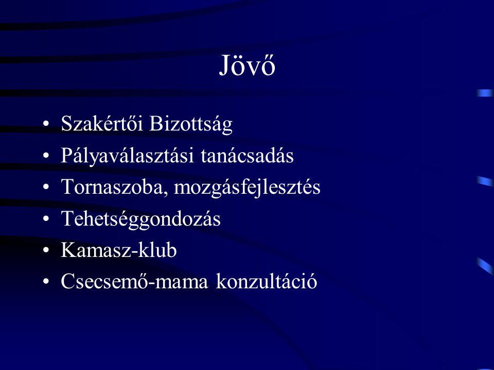 Jövő Szakértői Bizottság Pályaválasztási tanácsadás Tornaszoba, mozgásfejlesztés Tehetséggondozás Kamasz-klub Csecsemő-mama konzultáció