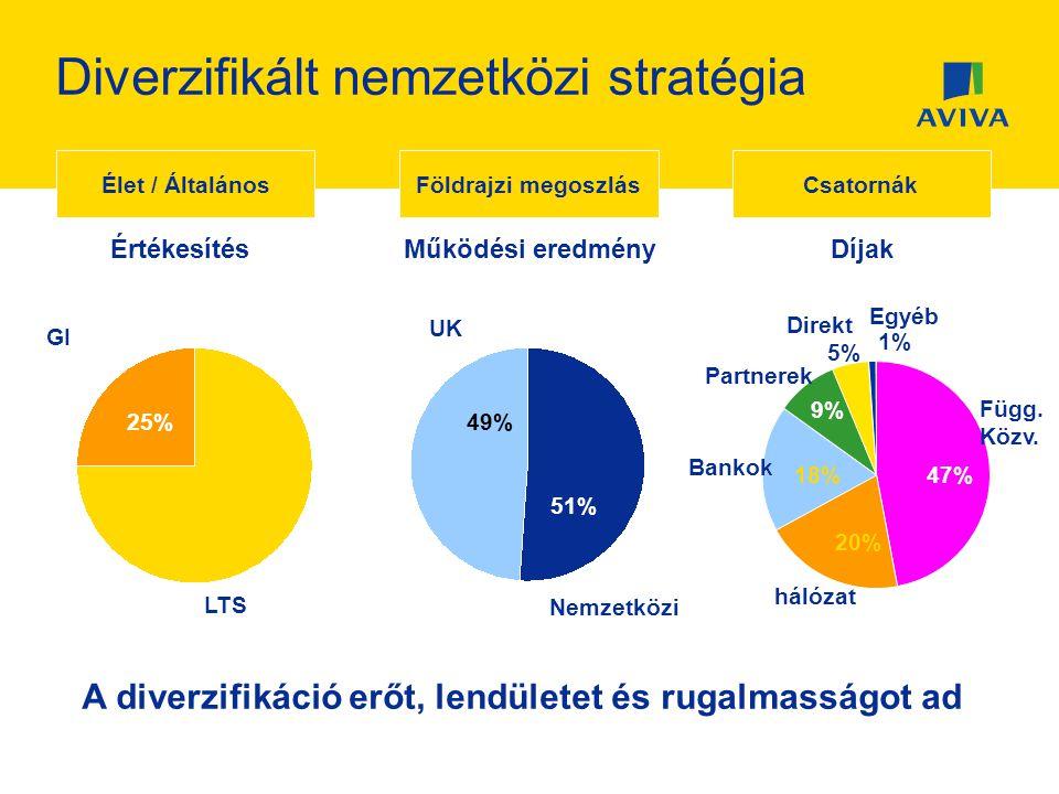 Diverzifikált nemzetközi stratégia Csatornák 47% Függ. Közv. 20% hálózat 18% Bankok 9% Partnerek 5% Direkt 1% Egyéb Díjak A diverzifikáció erőt, lendü