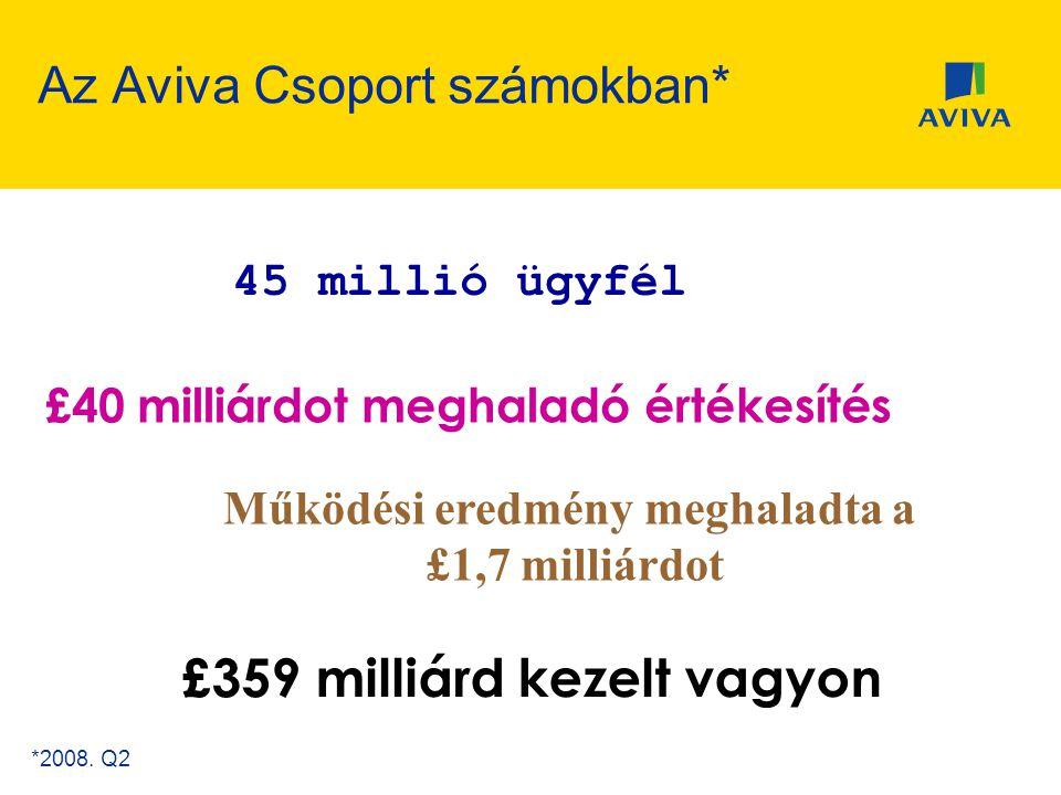 Az Aviva Csoport számokban* 300 év öröksége £40 milliárdot meghaladó értékesítés £359 milliárd kezelt vagyon 45 millió ügyfél Működési eredmény meghal
