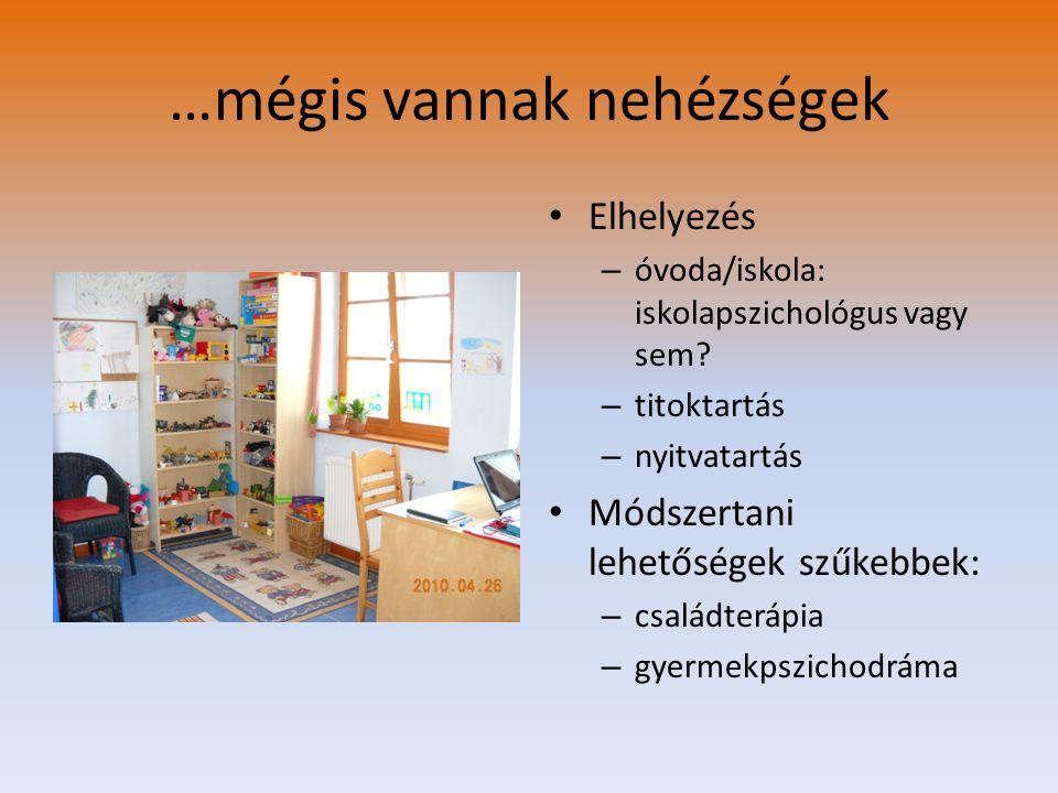 …mégis vannak nehézségek Elhelyezés – óvoda/iskola: iskolapszichológus vagy sem? – titoktartás – nyitvatartás Módszertani lehetőségek szűkebbek: – csa