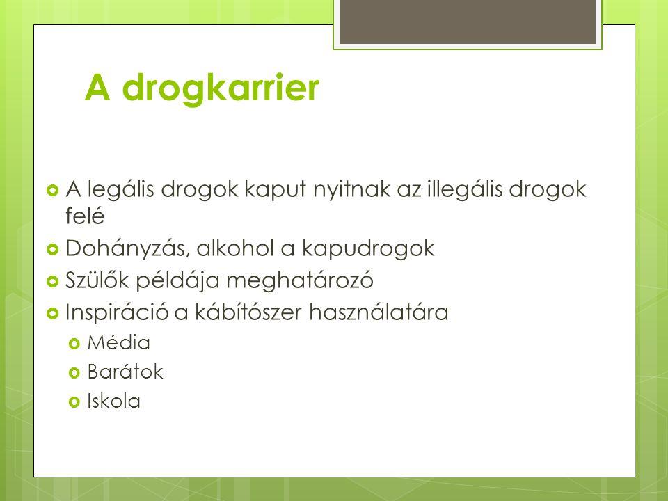 A drogkarrier  A legális drogok kaput nyitnak az illegális drogok felé  Dohányzás, alkohol a kapudrogok  Szülők példája meghatározó  Inspiráció a