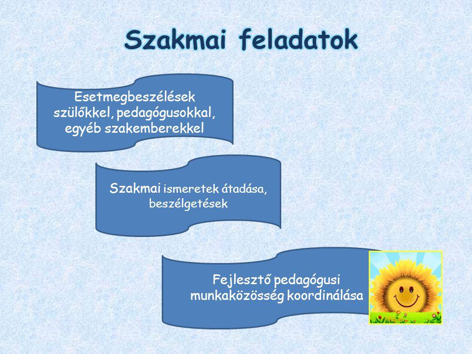 Szakmai ismeretek átadása, beszélgetések Esetmegbeszélések szülőkkel, pedagógusokkal, egyéb szakemberekkel Fejlesztő pedagógusi munkaközösség koordiná