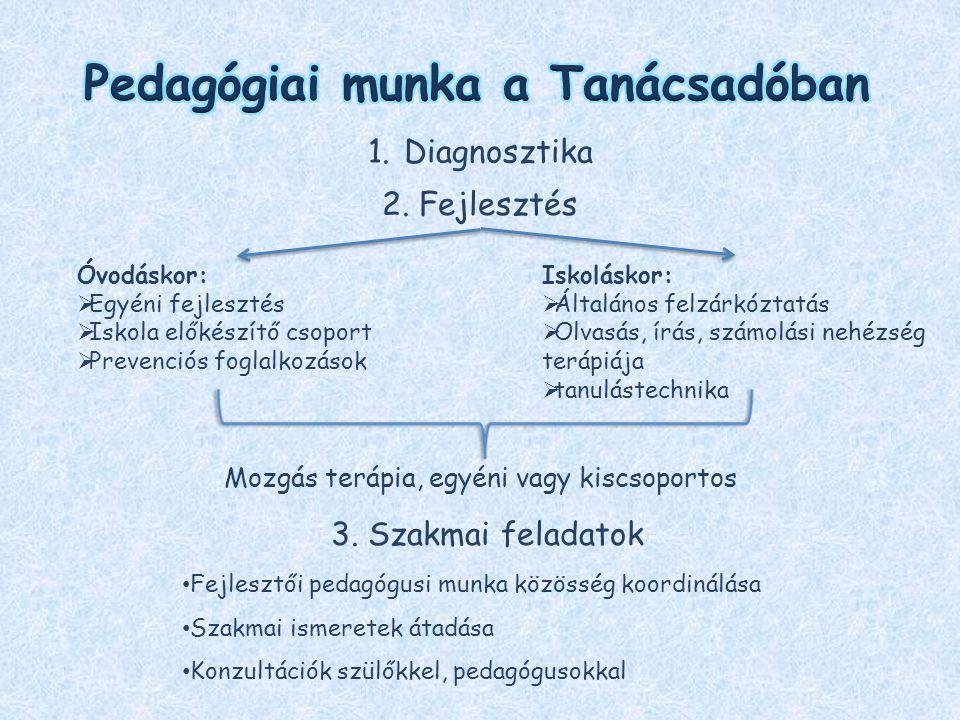 1.Diagnosztika 2. Fejlesztés Óvodáskor:  Egyéni fejlesztés  Iskola előkészítő csoport  Prevenciós foglalkozások Iskoláskor:  Általános felzárkózta