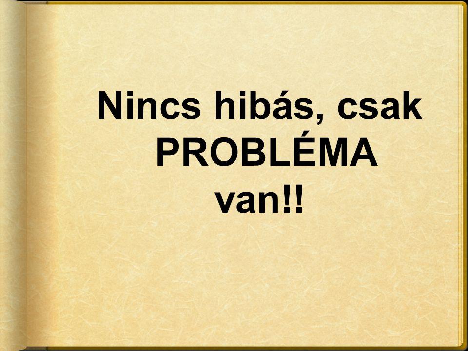 Nincs hibás, csak PROBLÉMA van!!