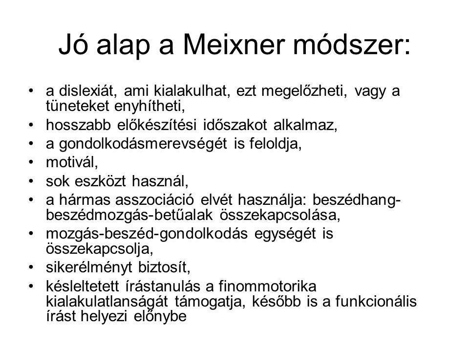 Jó alap a Meixner módszer: a dislexiát, ami kialakulhat, ezt megelőzheti, vagy a tüneteket enyhítheti, hosszabb előkészítési időszakot alkalmaz, a gon