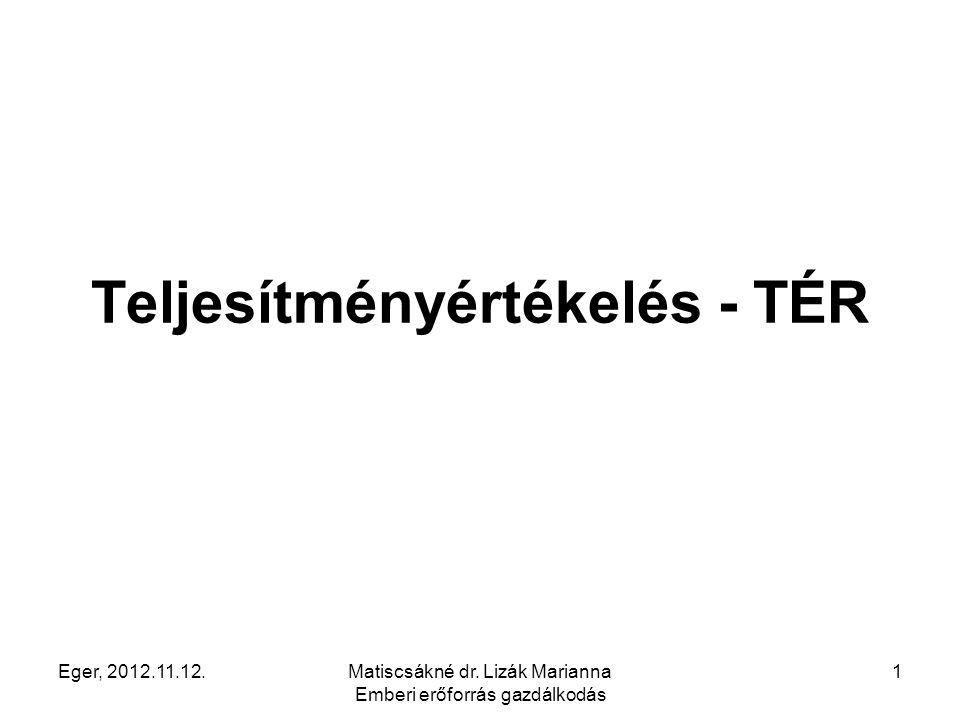 Eger, 2012.11.12.Matiscsákné dr. Lizák Marianna Emberi erőforrás gazdálkodás 1 Teljesítményértékelés - TÉR