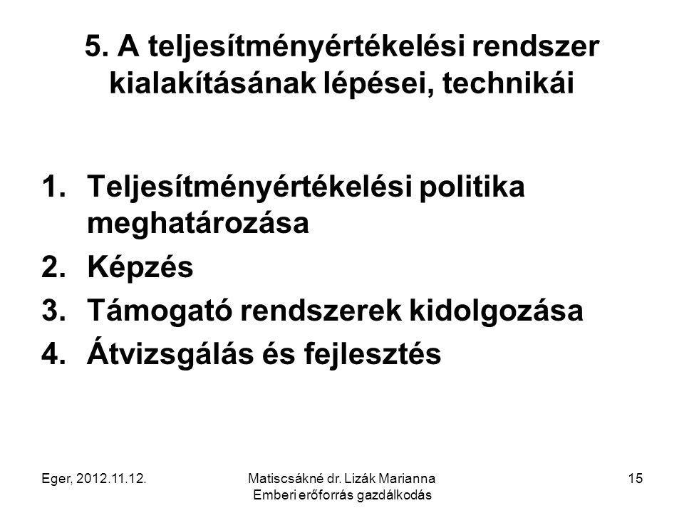 Eger, 2012.11.12.Matiscsákné dr. Lizák Marianna Emberi erőforrás gazdálkodás 15 5. A teljesítményértékelési rendszer kialakításának lépései, technikái